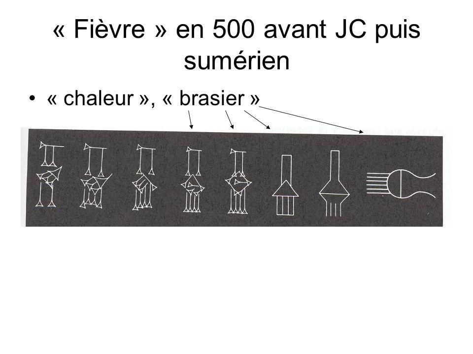 « Fièvre » en 500 avant JC puis sumérien