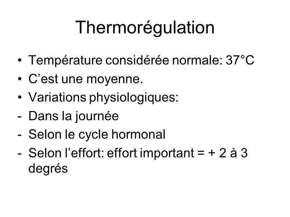 Thermorégulation Température considérée normale: 37°C