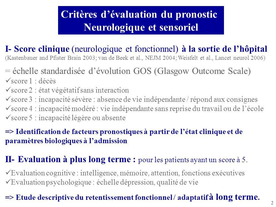 Critères d'évaluation du pronostic Neurologique et sensoriel
