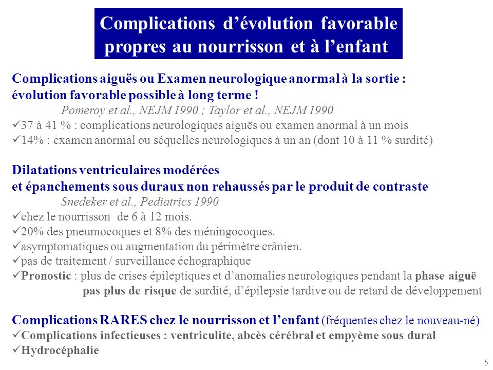 Complications d'évolution favorable