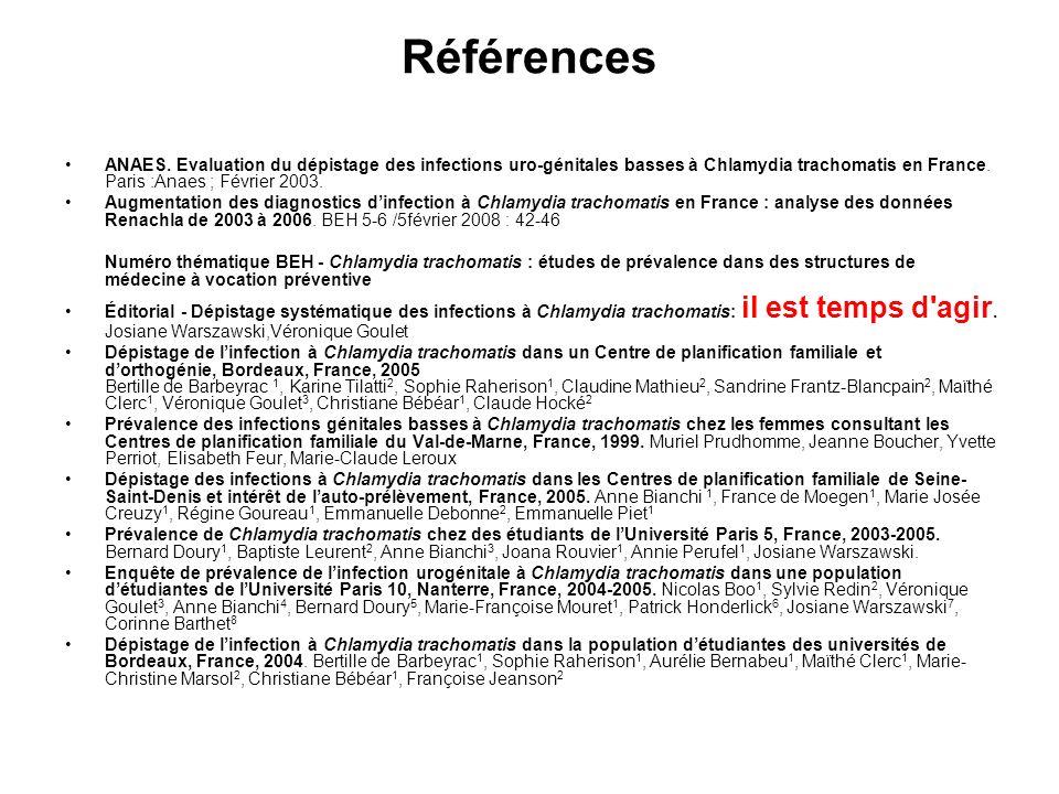 RéférencesANAES. Evaluation du dépistage des infections uro-génitales basses à Chlamydia trachomatis en France. Paris :Anaes ; Février 2003.