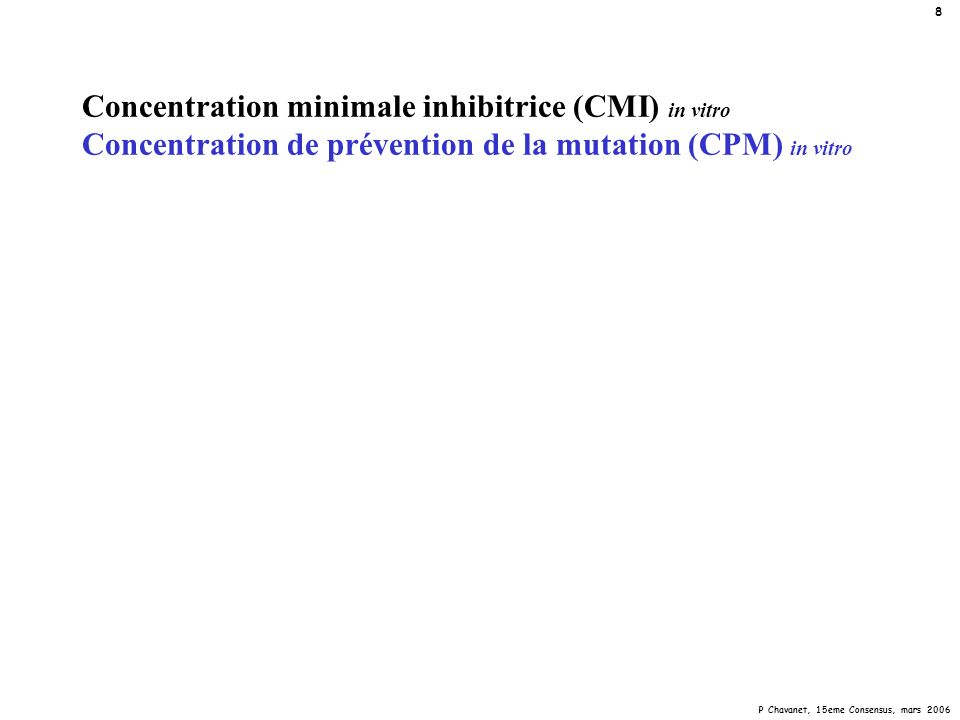 Concentration minimale inhibitrice (CMI) in vitro Concentration de prévention de la mutation (CPM) in vitro