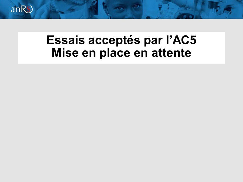 Essais acceptés par l'AC5 Mise en place en attente