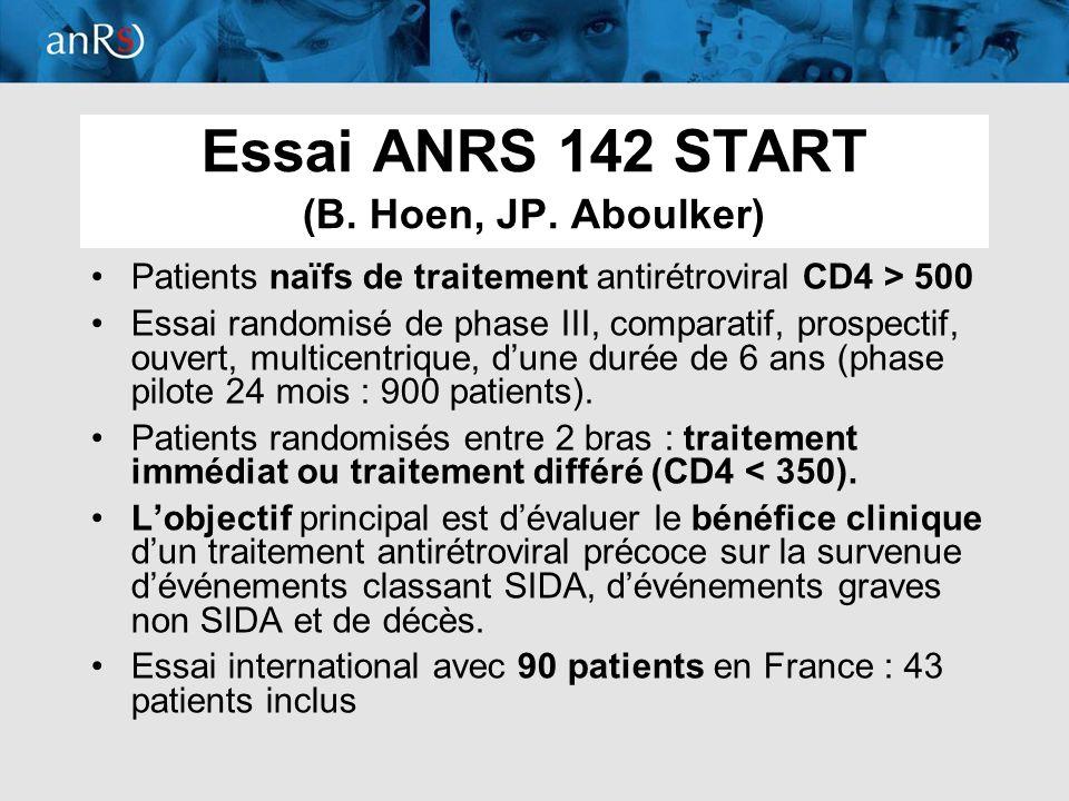 Essai ANRS 142 START (B. Hoen, JP. Aboulker)