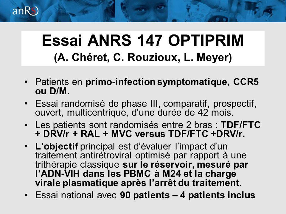 Essai ANRS 147 OPTIPRIM (A. Chéret, C. Rouzioux, L. Meyer)