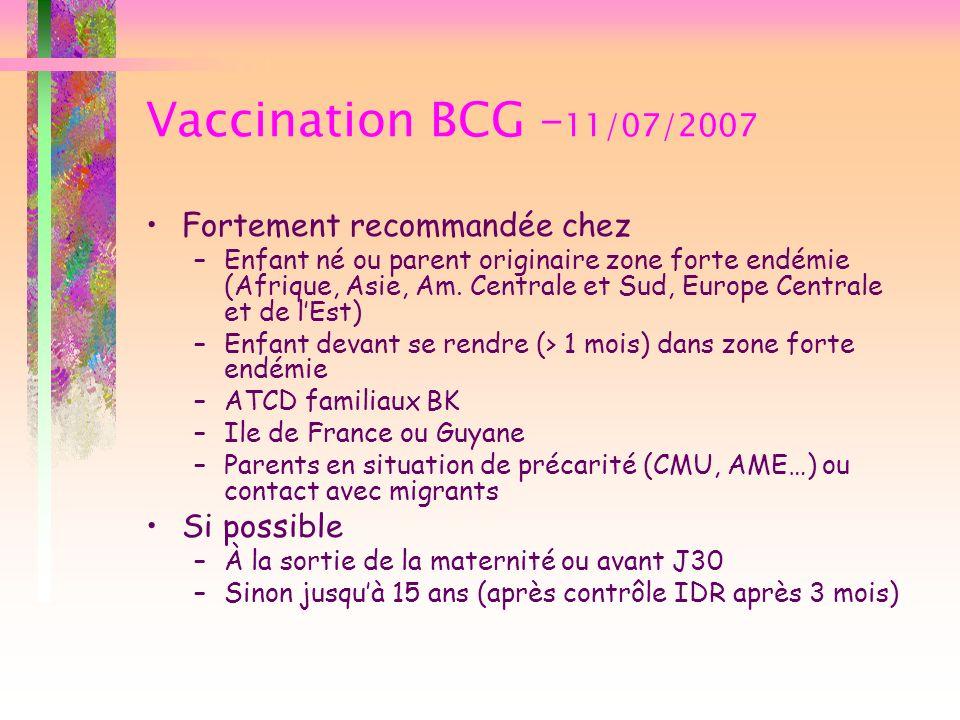 Vaccination BCG –11/07/2007 Fortement recommandée chez Si possible