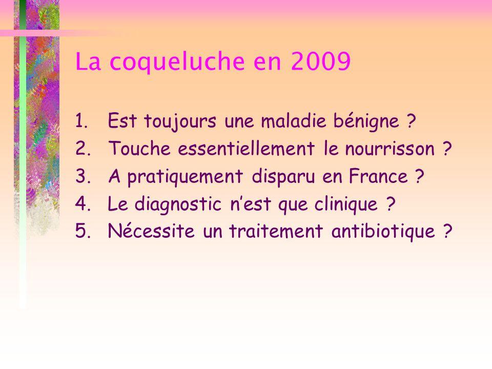 La coqueluche en 2009 Est toujours une maladie bénigne