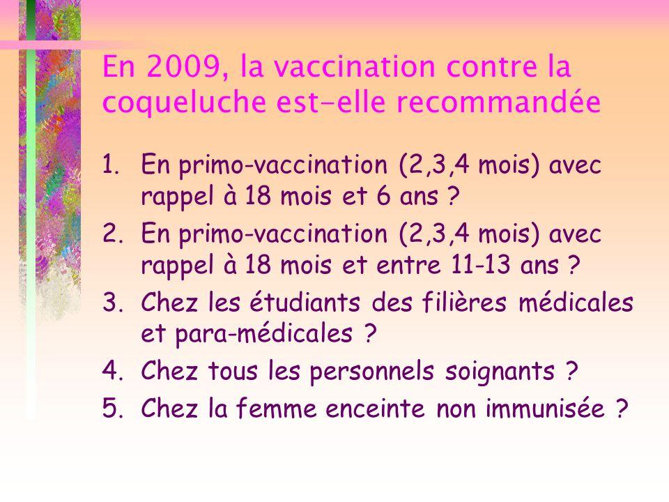 En 2009, la vaccination contre la coqueluche est-elle recommandée