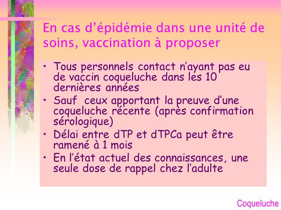 En cas d'épidémie dans une unité de soins, vaccination à proposer