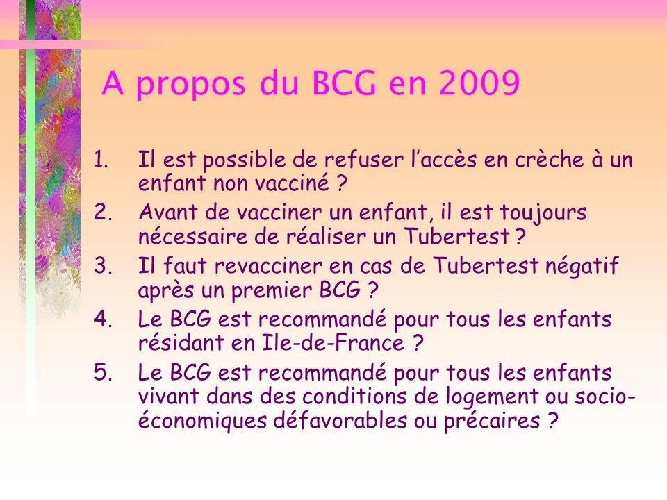 A propos du BCG en 2009 Il est possible de refuser l'accès en crèche à un enfant non vacciné
