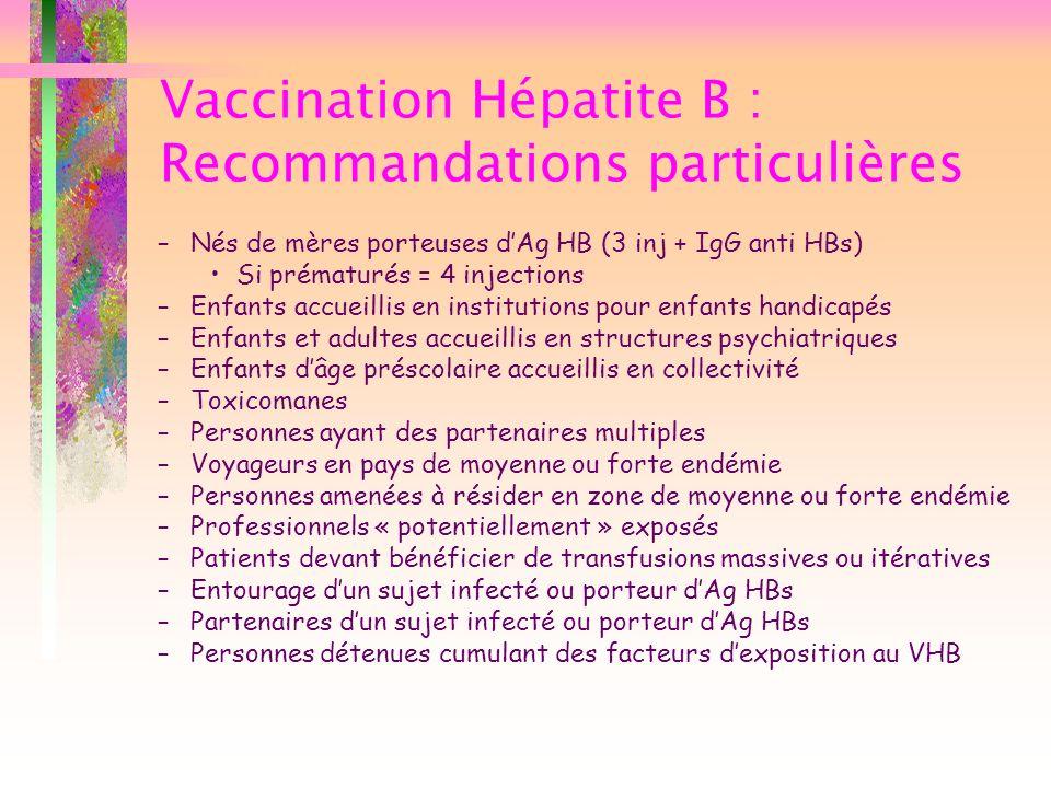 Vaccination Hépatite B : Recommandations particulières