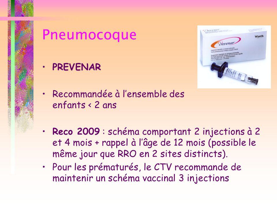 Pneumocoque PREVENAR Recommandée à l'ensemble des enfants < 2 ans