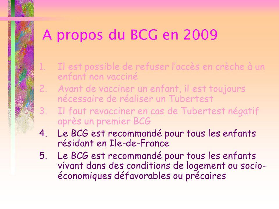 A propos du BCG en 2009 Il est possible de refuser l'accès en crèche à un enfant non vacciné.