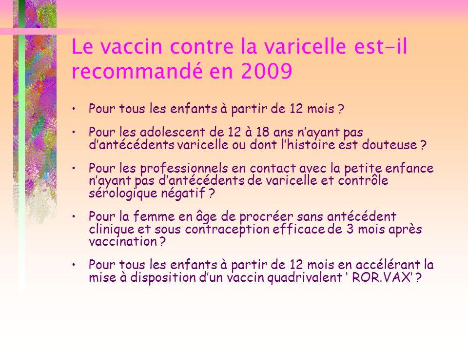 Le vaccin contre la varicelle est-il recommandé en 2009