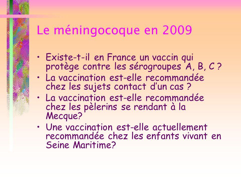Le méningocoque en 2009 Existe-t-il en France un vaccin qui protège contre les sérogroupes A, B, C