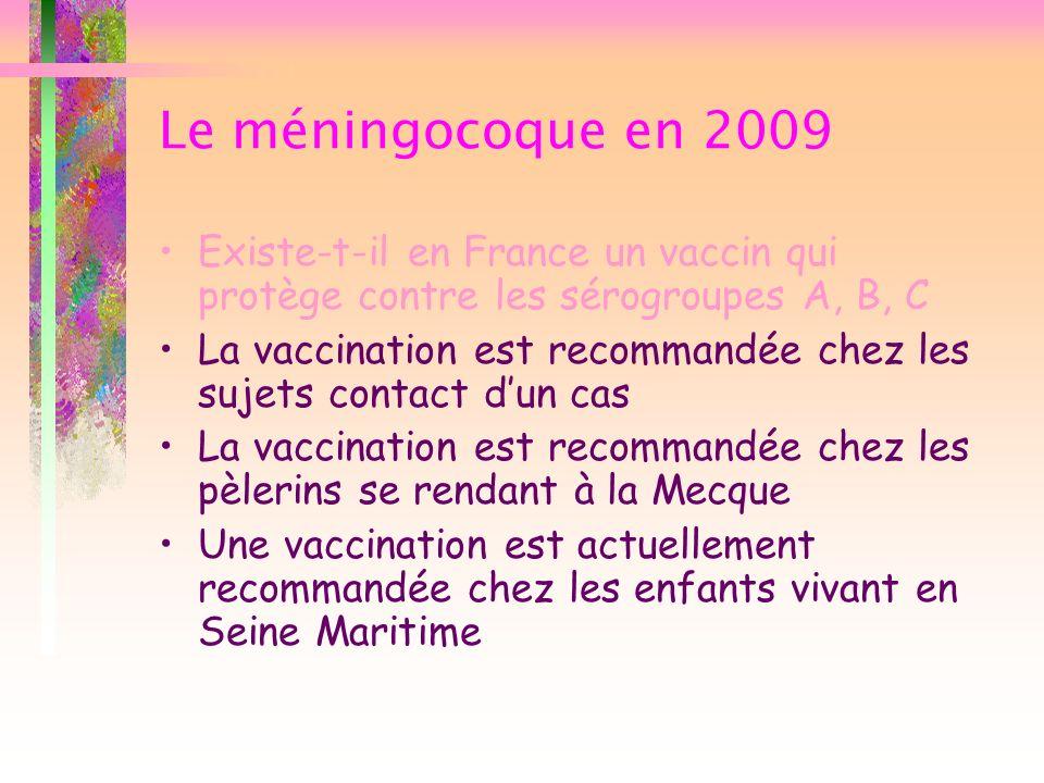 Le méningocoque en 2009 Existe-t-il en France un vaccin qui protège contre les sérogroupes A, B, C.