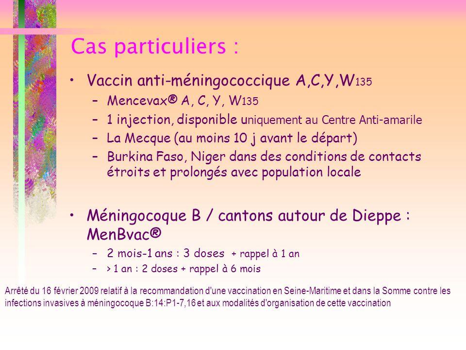 Cas particuliers : Vaccin anti-méningococcique A,C,Y,W135