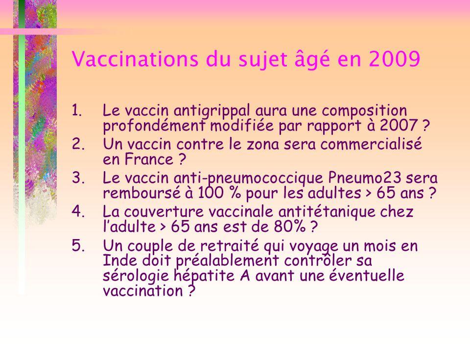 Vaccinations du sujet âgé en 2009