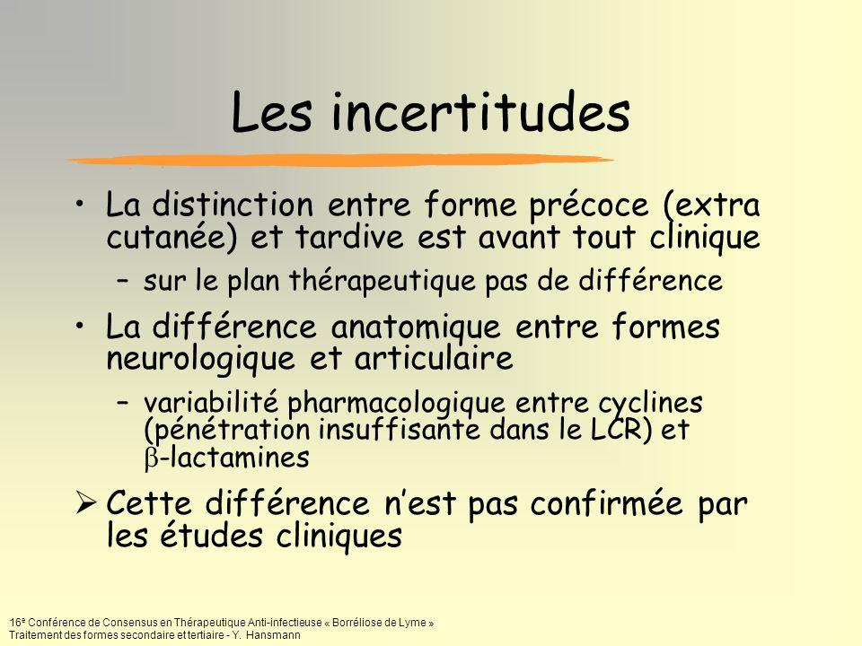 Les incertitudes La distinction entre forme précoce (extra cutanée) et tardive est avant tout clinique.