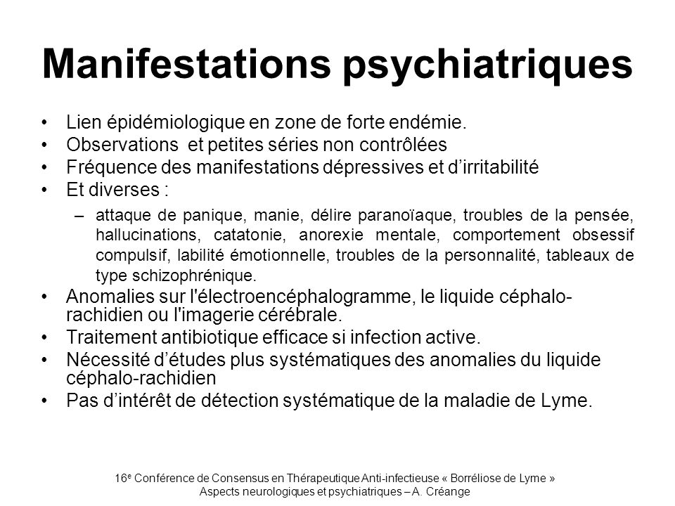 Manifestations psychiatriques