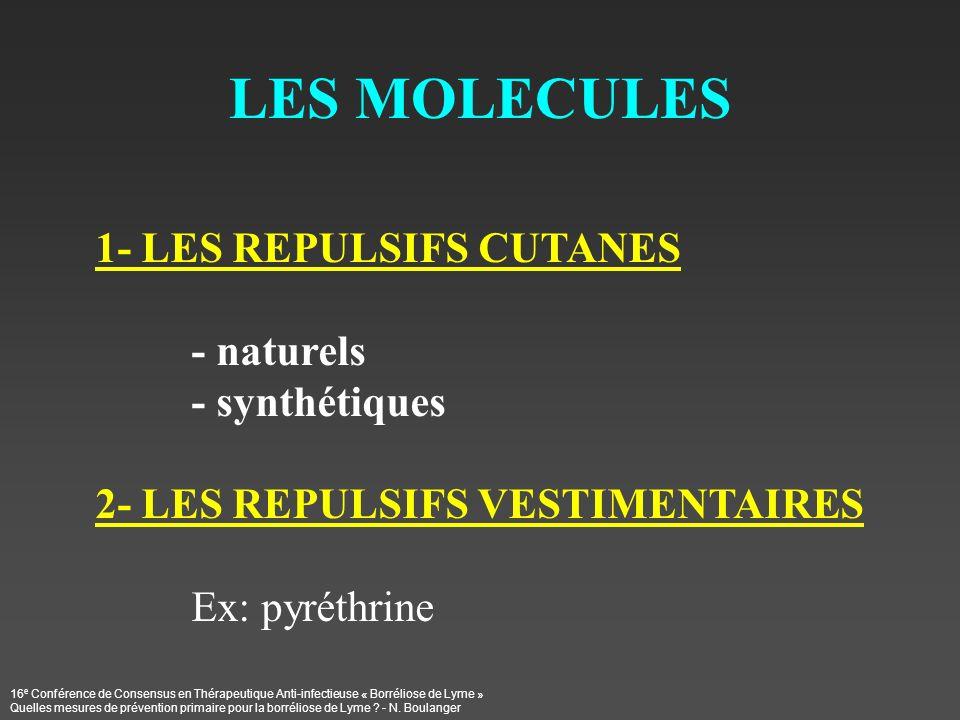 LES MOLECULES 1- LES REPULSIFS CUTANES - naturels - synthétiques