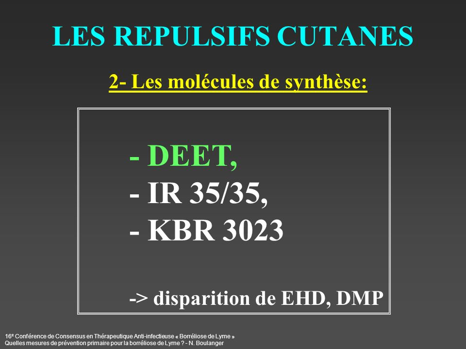 - IR 35/35, - KBR 3023 LES REPULSIFS CUTANES