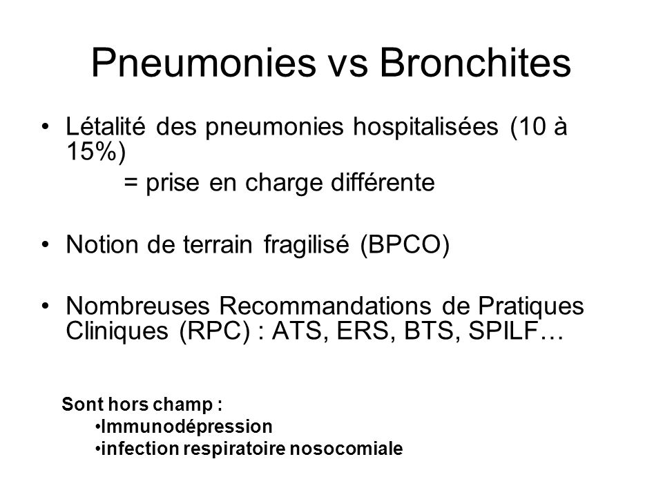 Pneumonies vs Bronchites
