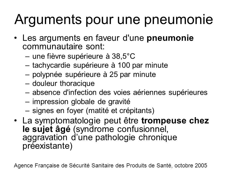 Arguments pour une pneumonie