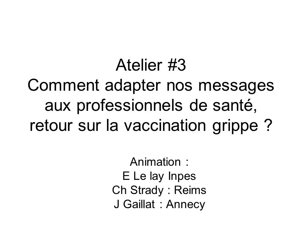 Animation : E Le lay Inpes Ch Strady : Reims J Gaillat : Annecy