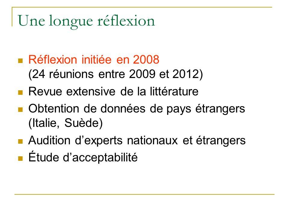 Une longue réflexion Réflexion initiée en 2008 (24 réunions entre 2009 et 2012)