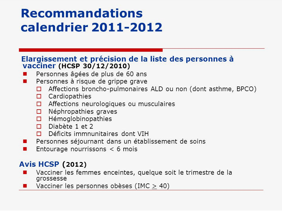 Recommandations calendrier 2011-2012