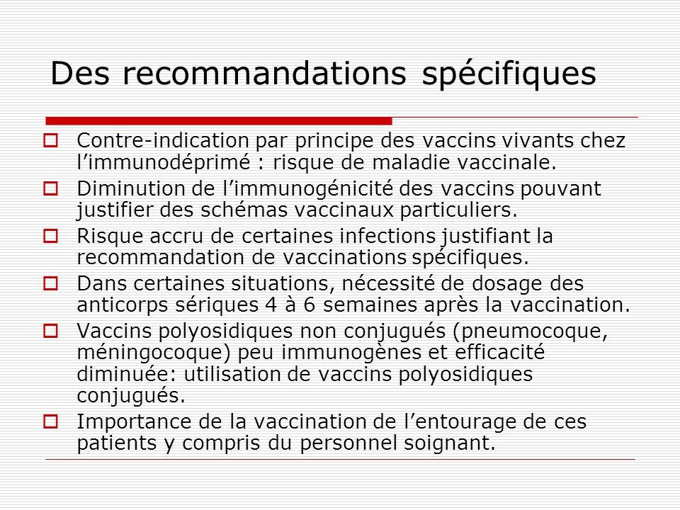 Des recommandations spécifiques