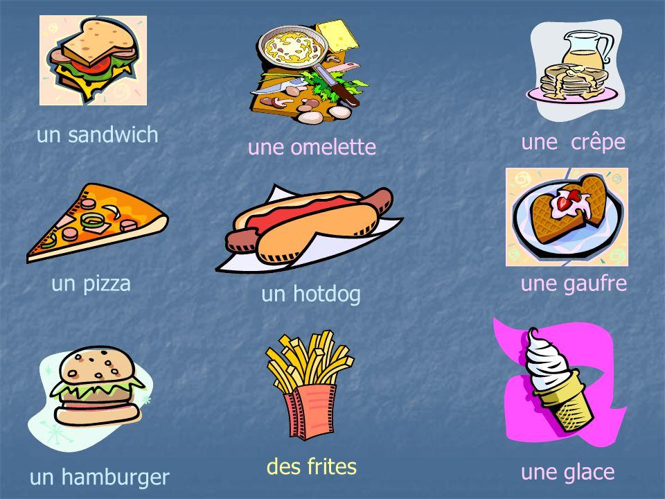 un sandwich une crêpe une omelette un pizza une gaufre un hotdog des frites une glace un hamburger