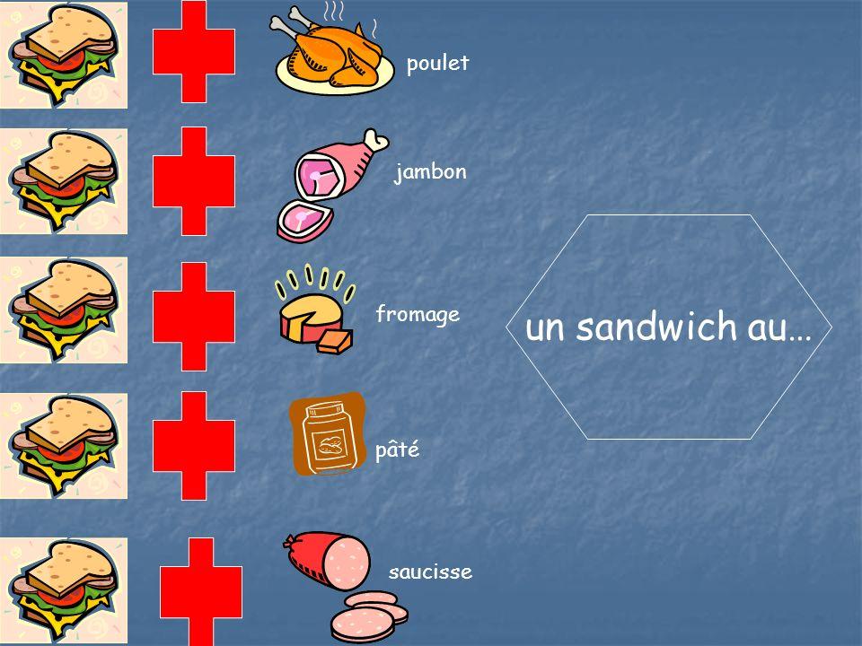 poulet jambon un sandwich au… fromage pâté saucisse