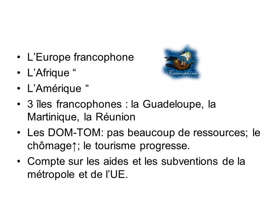 L'Europe francophoneL'Afrique L'Amérique 3 îles francophones : la Guadeloupe, la Martinique, la Réunion.