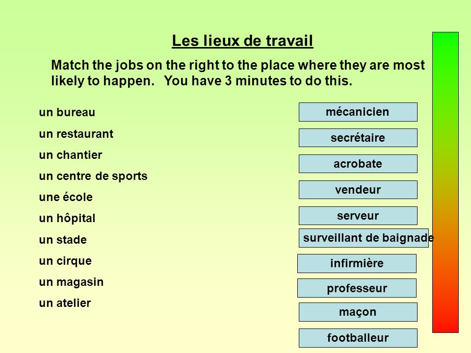 Les lieux de travail Match the jobs on the right to the place where they are most likely to happen. You have 3 minutes to do this.