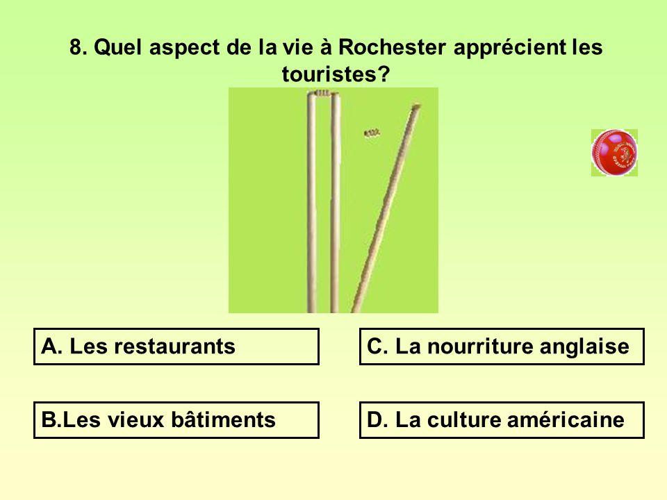 8. Quel aspect de la vie à Rochester apprécient les touristes