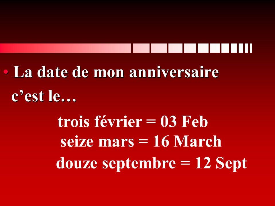 La date de mon anniversaire