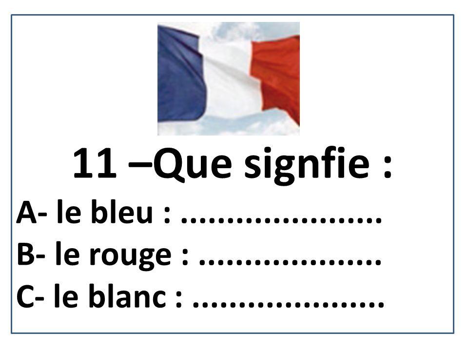 11 –Que signfie : A- le bleu : ......................