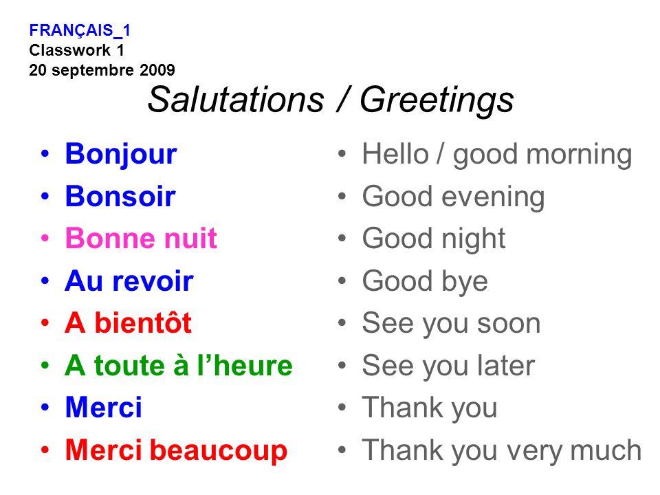 Salutations / Greetings