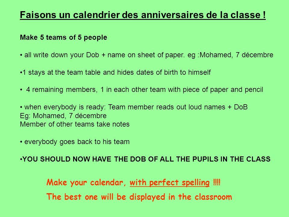 Faisons un calendrier des anniversaires de la classe !