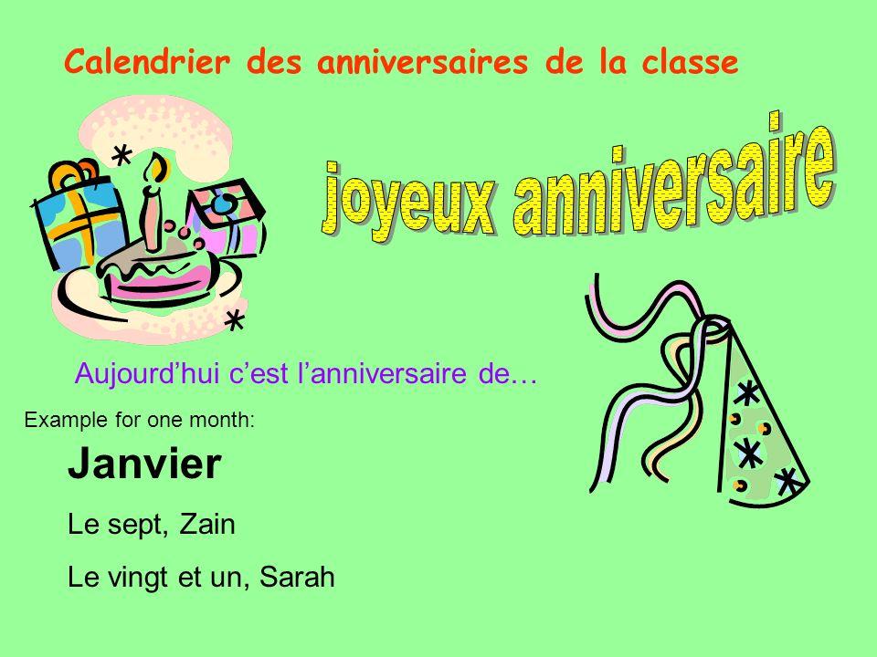 Calendrier des anniversaires de la classe
