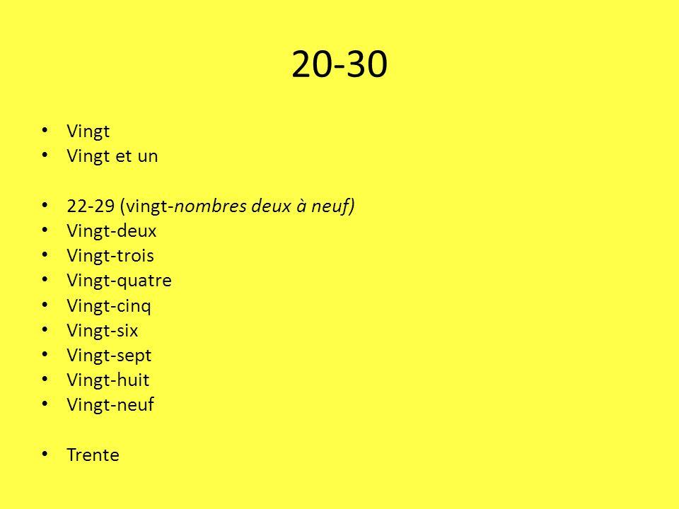 20-30 Vingt Vingt et un 22-29 (vingt-nombres deux à neuf) Vingt-deux