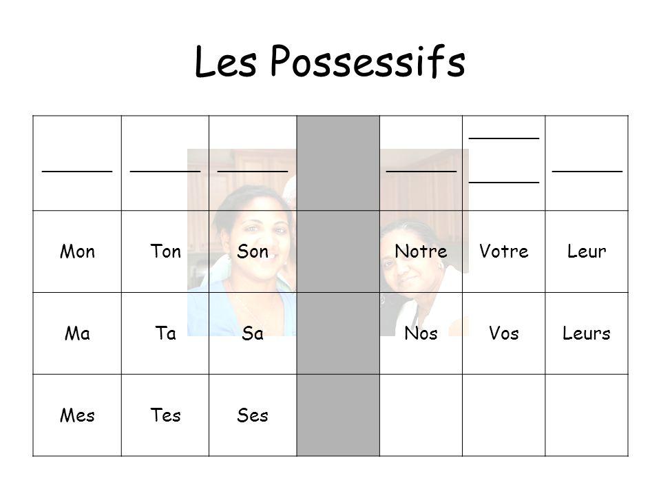 Les Possessifs ______ Mon Ton Son Notre Votre Leur Ma Ta Sa Nos Vos