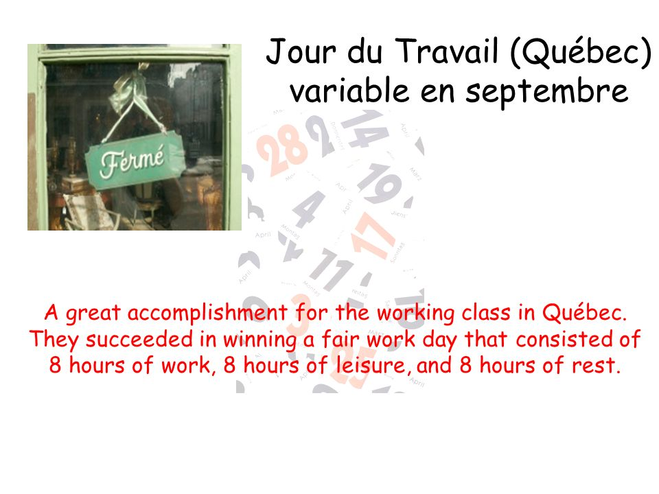 Jour du Travail (Québec) variable en septembre
