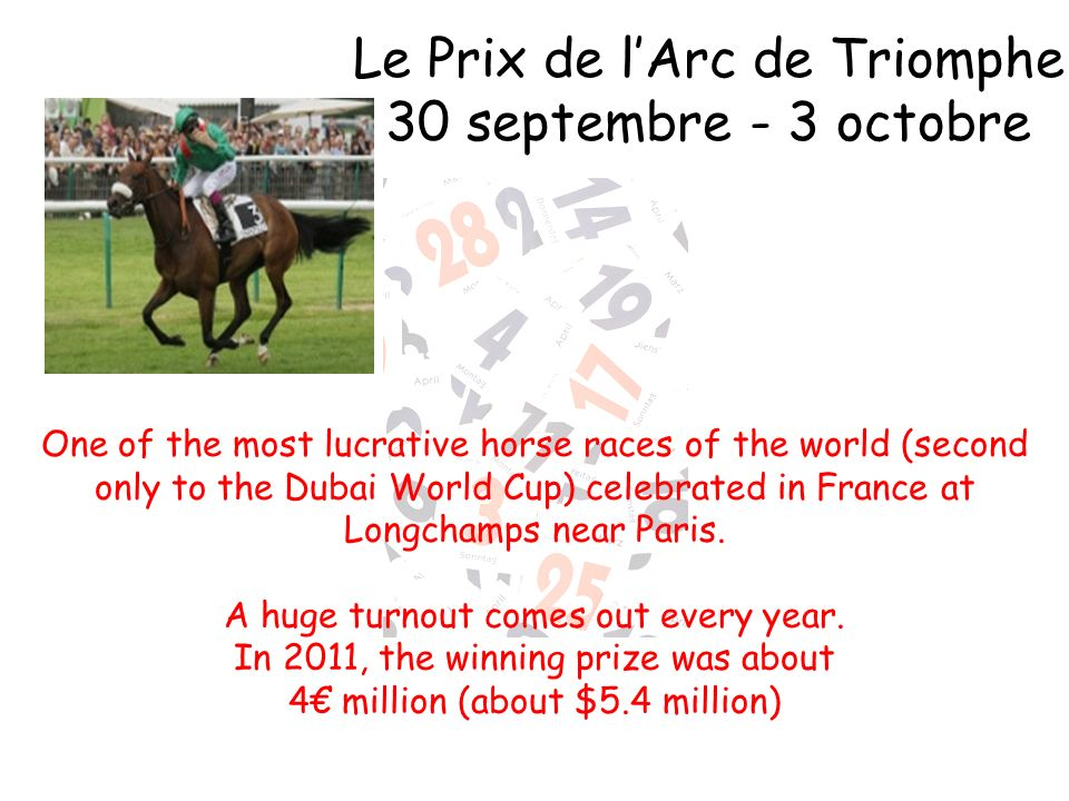 Le Prix de l'Arc de Triomphe 30 septembre - 3 octobre