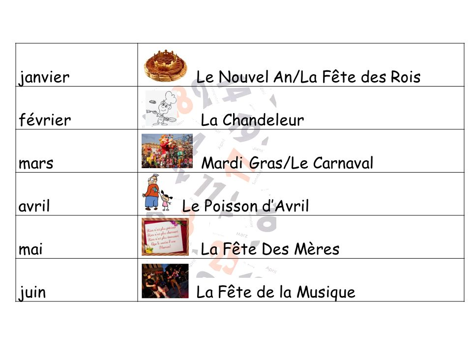 janvier Le Nouvel An/La Fête des Rois. février. La Chandeleur. mars. Mardi Gras/Le Carnaval. avril.