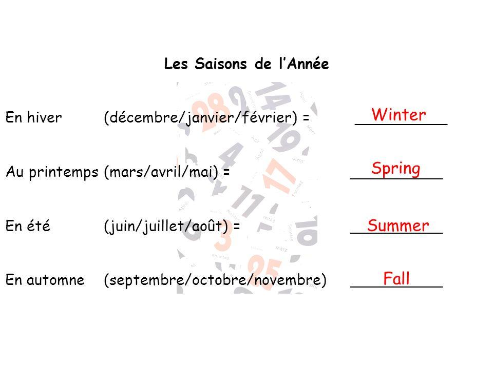 Winter Spring Summer Fall Les Saisons de l'Année