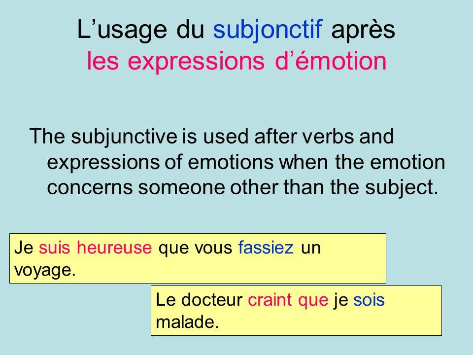 L'usage du subjonctif après les expressions d'émotion