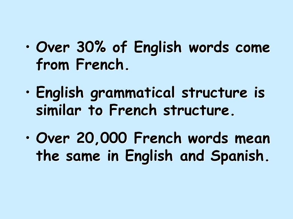 Over 30% of English words come from French.